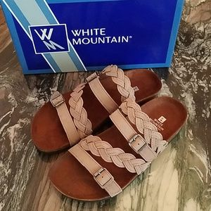 White Mountain Holland Grey Leather Sandals